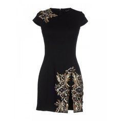 7aed6eafb27 Black Jewel Embellished Mini Fitted Dress - Black glass and brass fitted  mini dress from featuring a round neck