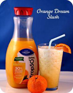 Orange dream slush: trop 50, almond milk, and ice? I totally got all that in my fridge (:
