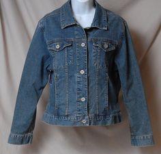 Eddie Bauer Outfitter Womens Medium Feminine Denim Stretch Blue Jean Jacket EUC