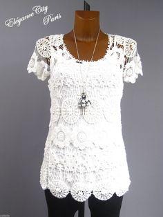 ♦elégancecity♦haut Tunique TOP Dentelle Guipure Crochet Blanc 36 38 40 | eBay