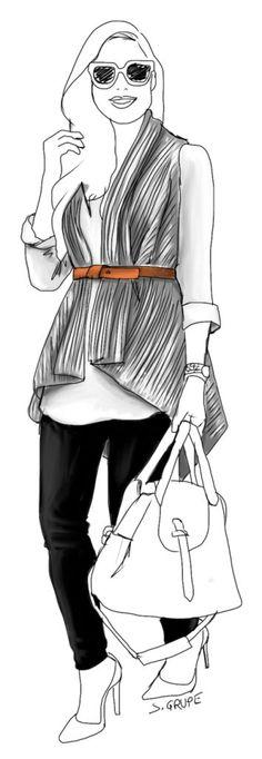 Ein langärmeliges Shirt, eine Strick-Weste, ein Gürtel und eine schmale Hose…