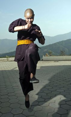 Buddhist Nun practicing Kung Fu (She is Jigme Rigden Lhamo, age 16)