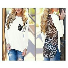 Winter sale!!! White long sleeve leopard tops NWT Tops Blouses