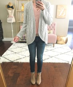 Grey cable knit cocoon cardigan, blush pink cotton v neck tee, skinny ankle jeans, franell ankle booties, Fall outfit - click the photo for outfit details!