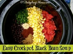 Easy Crockpot Black Bean Soup recipe is perfect for a cold evening! Simple ingredients and easy to fix for dinner!