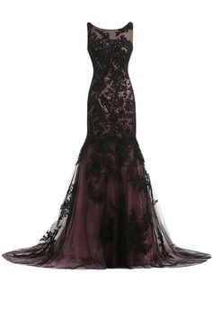 Sunvary Vintage Black Lace Applique Mermaid Mother of the Bride Dresses Long US Size 14- Black