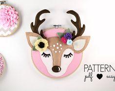 Faux Taxidermy Deer Antler Nursery Art Pattern Woodland Nursery Deer Sewing Pattern, Boho Nursery, Sleepy Eyes, Felt Pattern, Hoop Art