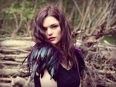 Black Feather Shoulder Pieces by Rouge Pony
