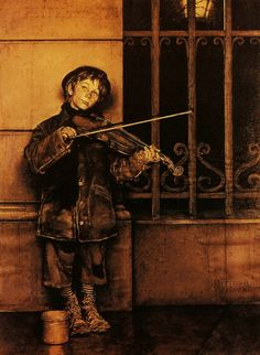 Norman Rockwell - Phil and his small violin 1948.