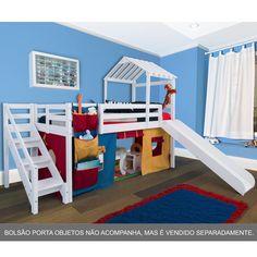 Cama com Escorregador Infantil c/ Telhado e Escada de Fácil Acesso - Multi cores – Casatema - CasaTema