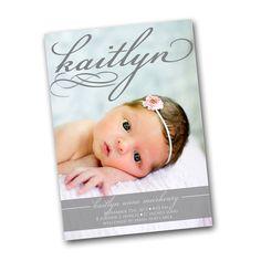 Photo Birth Announcement Card script name by gwenmariedesigns