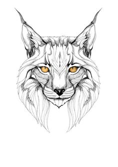 Lynx pardinus (black stroke version for t-shirts) Art Print Lynx Tattoo, Cat Tattoo, Cat Drawing, Drawing Sketches, T-shirt Kunst, Grafik Art, Tattoo Grafik, Kitty Tattoos, Animal Heads