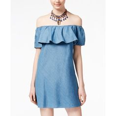 American Rag Ruffled Off-The-Shoulder Chambray Dress, ($48) ❤ liked on Polyvore featuring dresses, med denim wash, ruffle dress, flouncy dress, off shoulder ruffle dress, blue dress and off the shoulder dress