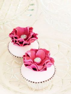 Hot Pink Flower Cupcakes with Sparkle