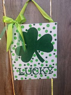 LUCKY, Handpainted, Clover, St. Patrick's Day, St. Patrick's Day Decor, Canvas Art, Acrylic Painting on Canvas, Green, Canvas Painting by TheCreativeSign on Etsy