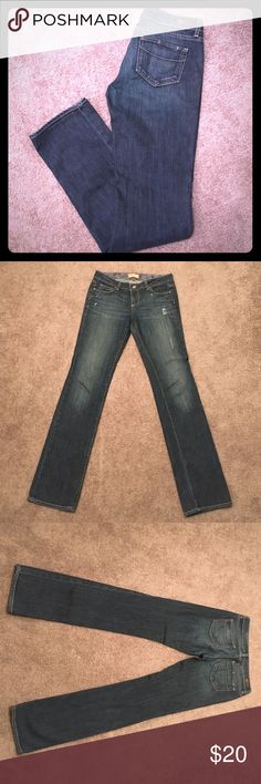 "Paige Premium Denim Jeans Jimmy Jimmy (Slight boot cut style) distressed marks at hips.  98% cotton/2% spandex.  Measurements when laid flat: 15"" waist; 8"" rise (mid-rise); 32.5"" inseam (original inseam); 7"" leg opening.  Great jeans! Make an offer 😉 Paige Jeans Jeans"