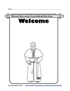 This is another free printable that can be used to celebrate Pope Francis' visit to the United States in September of 2015 for the Bishops' Synod on the Family.  Students will draw a picture of their family with Pope Francis They could also write about ideas they would like to share with Pope Francis about family life.If you like this, you may want to check out these coordinating sets:Catholic Mass Clip Art Set 1Catholic Mass Clip Art Set 2Jesus Calms the Storm and Walks on Water setMiracles…