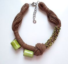 Light Green Tagua Nut Yellow Turquoise BeadsLinen Cord by ReTeTeer