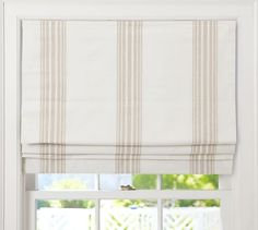 Riviera Stripe Cordless Roman Shade | Pottery Barn. Patterned after the awnings that shade French Sidewalk Cafes.