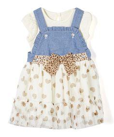 Nannette Baby White Bodysuit & Denim Heart A-Line Dress - Infant & Toddler | zulily