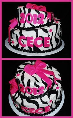 Zebra Print Graduation Cake