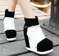 Hot Sale White Black Ankle Boots Sexy Materials Joining High Platform Wedges Heel Women's Winter Boots Wedge Heel And Ankle Boot Bootie Buy Shoes Online From Honesty Shops, $39.8| Dhgate.Com