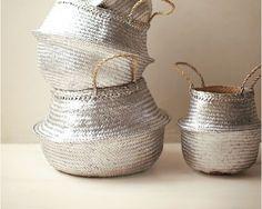Classique panier boule peinture argentée Little silver basket