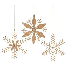 Add a rustic touch to your holiday decor with these jute-wrapped snowflake ornaments.   Product: 6 OrnamentsConstruct...