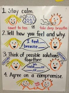 Great anchor chart for conflict management! (link is just a picture, if you know the source, please comment!)