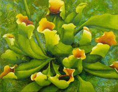 """Contemporary Painting - """"Green Yellow Pitcher Plants"""" (Original Art from Marcy Lansman)"""