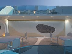 """Ξενοδοχείο """"Θόλος"""", ΕστιατόριοΣαντορίνη2015ΙδιώτηςΠροεργασία137 τ.μ.Η ιδέα εστιάστηκε στο πως θα δημιουργήσουμε μια μοντέρνα φωλιά που θα αντανακλά το ύφος της τοπικής αρχιτεκτονικής, ενώ συγχρόνως θα δημιουργεί συνθήκες ανθρώπινης άνεσης δεδομένου ότι ο χώρος είναι εκτεθειμένος στον αέρα.Μετά από αρκετό πειραματισμό και παιχνίδι με τις φόρμες καταλήξαμε σε αυτήν την πρόταση όπου τα στοιχεία ρέουν σε συνέχεια του βράχου δημιουργώντας ένα άνετο, μοντέρνο και ιδιαίτερο καταφύγιο αντίστοιχο Reception Entrance, Entrance Design, Spa Design, Jacuzzi, Restaurant Bar, Santorini, The Locals, Explore, Contemporary"""