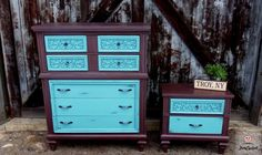 Brown and Teal / Aqua Dresser Set by FunCycled