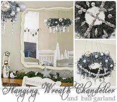 Hanging Wreath Chandelier & Ball Garland featuring Jessica from Two Shades of Pink