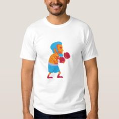 Bearded Boxer Boxing Cartoon WPA T-shirt. WPA style illustration of a bearded boxer boxing viewed from the side set on isolated white background done in cartoon style. #illustration #BeardedBoxerBoxing