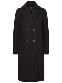 Long classic wool coat from VERO MODA. Style with high heeled ankle boots and denim jeans.