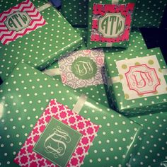Monogrammed presents. Print out recipients monogram instead of name cards. So cute!
