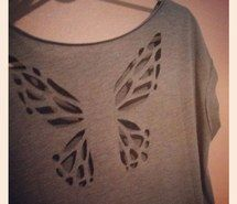 Inspiring image style, shirt, pink, back, stylish, creation, grey, cute, diy, creative streak, art, sewing, inspiration, do it yourself, t-shirt, butterfly, cut out, ideas, tee, fashion #1246185 by awesomeguy - Resolution 1024x1024px - Find the image to your taste