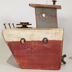 Driftwood Crafts, Wooden Crafts, Diy And Crafts, Diy Pallet Projects, Wood Projects, Boat Art, Wood Boats, Nautical Art, Junk Art