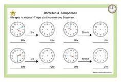 Kartei Uhrzeiten & Zeitspannen Chronograph, School, Teaching Math, Teaching Ideas, School Kids, Mathematics, Primary School