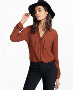 This shirt is the personification of October. It's like wearing a pumpkin spice latte! - Express original fit contrast piped portofino shirt