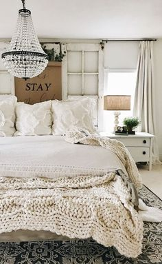 Beautiful white shabby chic Farmhouse bedroom with Chandelier and rustic window headboard. Beautiful white shabby chic Farmhouse bedroom with Chandelier and rustic window headboard. Sweet Home, French Country Bedrooms, Country French, French Country Curtains, French Country Chandelier, Farmhouse Master Bedroom, Bedroom Rustic, Large Bedroom, Master Bedrooms