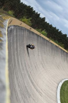 I can imagine the concentration it takes to ride an embankment that steep!