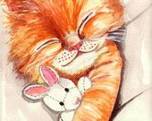 Mittens Takes a Nap - from Original Watercolor As Greeting Card or a Print