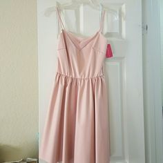 Peach leatherette dress knee length Comfortable, light, never worn with tag, perfect for summer parties or weddings! Love Culture Dresses Midi