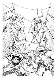 Four Ninja Turtle Coloring Page