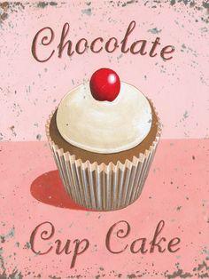 Chocolate Cupcake Metal Sign, Bright Pink Vintage Kitchen, Kids Room, Den Decor