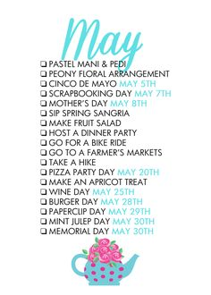 May Seasonal Living List