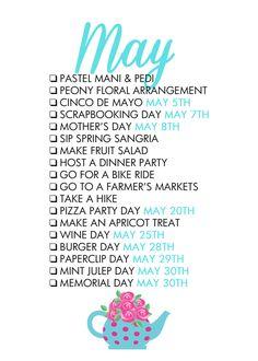 May Seasonal Living List