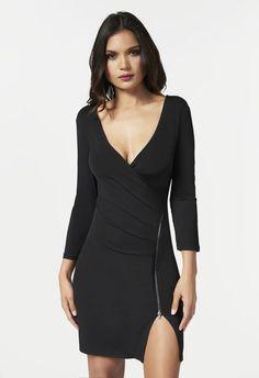 Size XL  Vêtements Zipper Front Wrap Dress en Black - Livraison gratuite sur JustFab