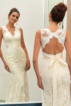 Charming V Neck Lace Sheath Wedding Dress With Sashes WD040